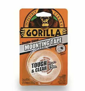 """Gorilla Tough & Clear Double Sided Mounting Tape, 1"""" x 60"""", Clear, 6065003"""