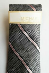 MICHAEL KORS // NWT Mens Silver Grey & Light Pink Stripe Pure Silk Tie