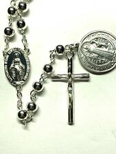 """† BLESSED BENEDICT MEDAL MODERN STYLE """"SCAPULAR CENTER"""" SILVER TONE ROSARY 26"""" †"""