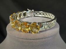 HAND CRAFTED STERLING SILVER & GEMSTONE CUFF BRACELET SIZE 7 - CITRINES