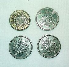 Lot of 4 Japan Silver Coins  Meiji, Olympic etc. - dy-10