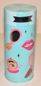 Benefit Cosmetics Blue Metal Gift Tin Lips Makeup Cosmetic Round Storage Case