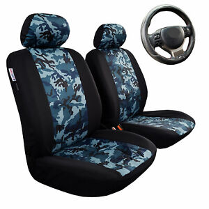 Camouflage Seat Covers Front Set Blue Camo Black Cotton Airbag Safe