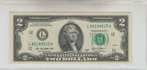 2013 (L) $2 Two Dollar Bill Federal Reserve Note San Francisco Gas Pump Error