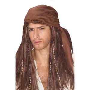 Caribbean Pirate Wig Captain Braids Fancy Dress Halloween Costume Accessory
