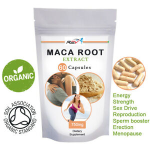 Maca Root Capsules Organic Extract for FERTILITY, SEX DRIVE, ENERGY AND STAMINA
