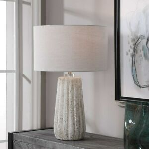 """NEW PIKES MODERN POROUS CERAMIC 26"""" ACCENT TABLE LAMP UTTERMOST 28391"""