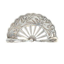 Silver Hand Fan Brooch - 950 Etched Cabriolet Pin