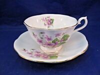 ROYAL IMPERIAL TEA CUP AND SAUCER - FINEST BONE CHINA - LAVENDER VIOLETS