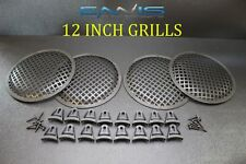 4 12 INCH STEEL SPEAKER SUB SUBWOOFER GRILL MESH COVER W/ CLIPS SCREWS FAST SHIP