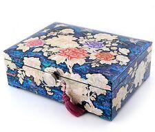 mother of pearl trinket jewelry box jewel case organizer peony flower #320