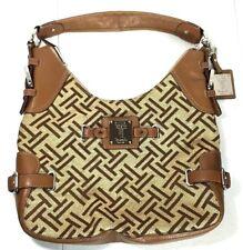 Tignanello Signature Cognac Jacquard Leather Hobo Shoulder Bag Purse Brown
