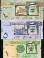 SAUDI ARABIA SET 3 PCS 1 5 10 RIYALS 2012 P 31 32 33 UNC