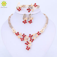 Gold Plated Butterfly Jewelry Sets Red Crystal Bracelet Earrings Necklace Ring