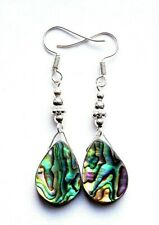 REAL ABALONE SHELL TEARDROP EARRINGS-ORGANZA GIFT BAG- POST DISCOUNT AVAILABLE