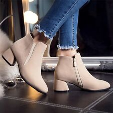 Retro Womens Faux Suede Zipper Chunky Heels Ankle Boots Court Shoes