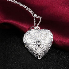 Vintage Womens Silver Heart lover locket chain necklace pendant valentine Gift