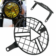 Black Headlight Protector Cover Retro Metal Grill For Triumph Suzuki Kawasaki