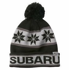 Genuine Subaru Black and Gray Pom Beanie  Cap Hat Sti Impreza Forester Outback