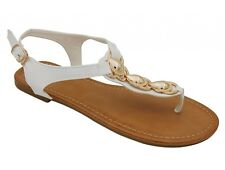 WOMENS SHELL ACCENT ROMAN GLADIATOR OPEN TOES THONG SANDALS  6 7 8 9 10 11
