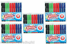 30 Bingo Markers Dabbers Pens Coloured Set Black Green Felt Red Blue Tickets