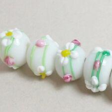 4pcs White Daisy Flower Rondelle Lampwork Beads 15x12mm M1188-1