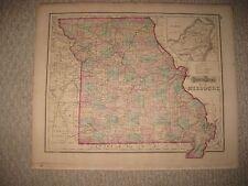 SUPERB MINT ANTIQUE 1873 MISSOURI GRAYS HANDCOLORED MAP ST LOUIS RAILROAD CANAL