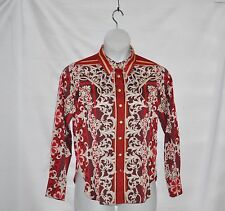 Status by Star Jones Printed Woven Button Front Shirt w/ Collar Size S Red