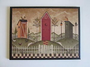 Country Outhouses bathroom wall decor plaque rustic primitive bath picture