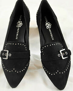 ROCK REPUBLIC Black Faux Leather Womens Signature Toe Ballet Flats Shoe 6M