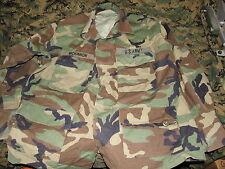US GI military summer rip-stop bdu woodland camo medium X-short top blouse USED