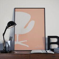 "ARNE JACOBSEN ""Swan Fauteuil"" Affiche en Rose Blush | Imprimer A2 XIXe moderne"