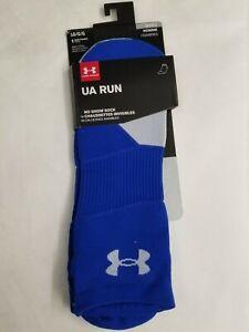 Under Armour Mens LARGE No Show Socks   * Blue UA RUN socks