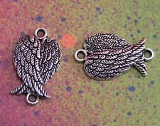 20 Angel Wings Double Crossed Bird Feather Closed Silver Metal Charms Pendants S