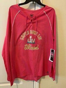 Women's Super Bowl LIV Miami Shirt New w/tags 47Brand Size 2X, XXL Cotton, Pink