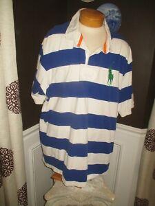 POLO RALPH LAUREN mens SZ 5XB white/royal blue stripes GREEN BIG PONY polo shirt
