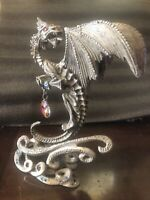 """Vintage DENICOLO Large Pewter Dragon Sculpture 10"""" RARE Very Heavy Base"""