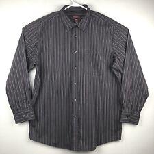 Covington Wrinkle Free Men's Shirt Size XL Striped Brown/Gray/White/Black