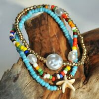 3pcs/set Boho Star Pearl Beads Bracelet Bangle Colorful Charm Women Jewellery