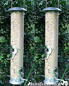 "SET 2 large 18"" metal frame wild garden bird SEED feeder feeders bird lover gift"