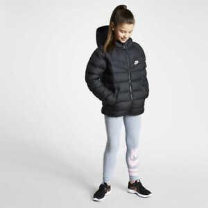 Nike Sportswear Junior Girls Winter Warm Padded Puffa Jacket Coat Black