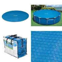 15 Ft Intex Clear Round Floating Solar Heat Retaining Swimming Pool Cover Set