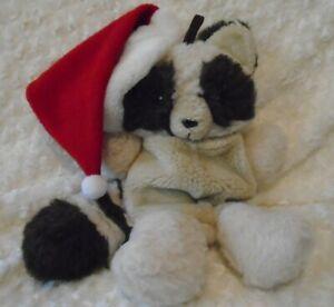 "Vintage 80s Hallmark Christmas raccoon plush stuff animal stocking 17"""