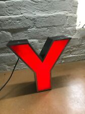 RECLAIMED VINTAGE INDUSTRIAL ILLUMINATED SHOP SIGN WALL ART - LETTER Y