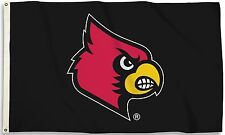 Louisville Cardinals 3' x 5' Flag (Logo Only on Black) NCAA Licensed