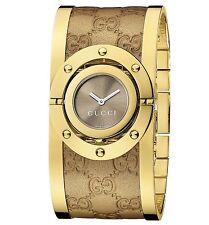 New Gucci Women's Twirl Gold-Tone Guccissima Leather Bangle Watch YA112434