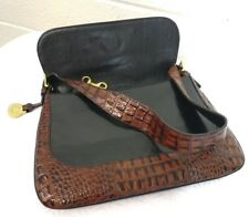 BRAHMIN VINTAGE BLACK PECAN CROCODILE  LEATHER HANDBAG PURSE