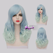 55CM Light Blue Mixed Green Long Curly Hair Lolita Ombre Anime Cosplay Wig + Cap