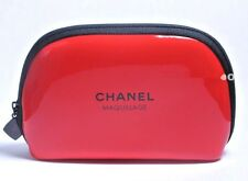 """CHANEL MAKEUP BAG COSMETIC CASE TRAVEL POUCH RED PATENT 5""""X 3.5"""" BRAND NEW RARE"""