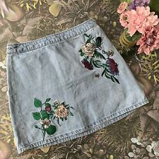 HM Coachella Mini Denim Skirt Embroidered Floral Boho Festival  10